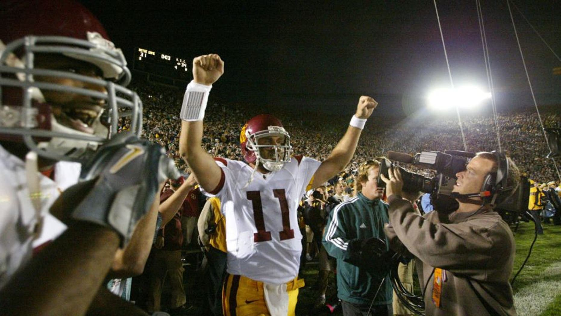 USC Southern California Matt Leinart against Notre Dame in South Bend, Ind., on Oct. 15, 2005. USC won 34-31. MANDATORY CREDIT: (Jay Drowns/Sporting News) DIGITAL PHOTOGRAPH