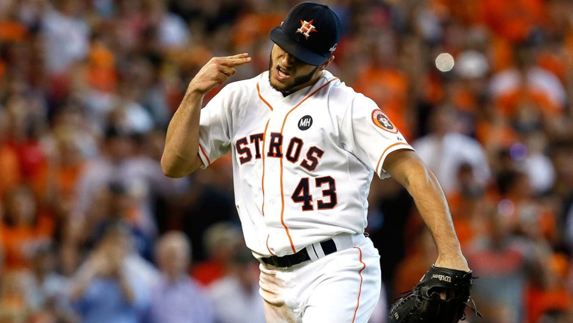 HOUSTON, TX - OCTOBER 12: Lance McCullers #43 of the Houston Astros reacts after the third out in the sixth inning against the Kansas City Royals during game four of the American League Divison Series at Minute Maid Park on October 12, 2015 in Houston, Texas. (Photo by Bob Levey/Getty Images)
