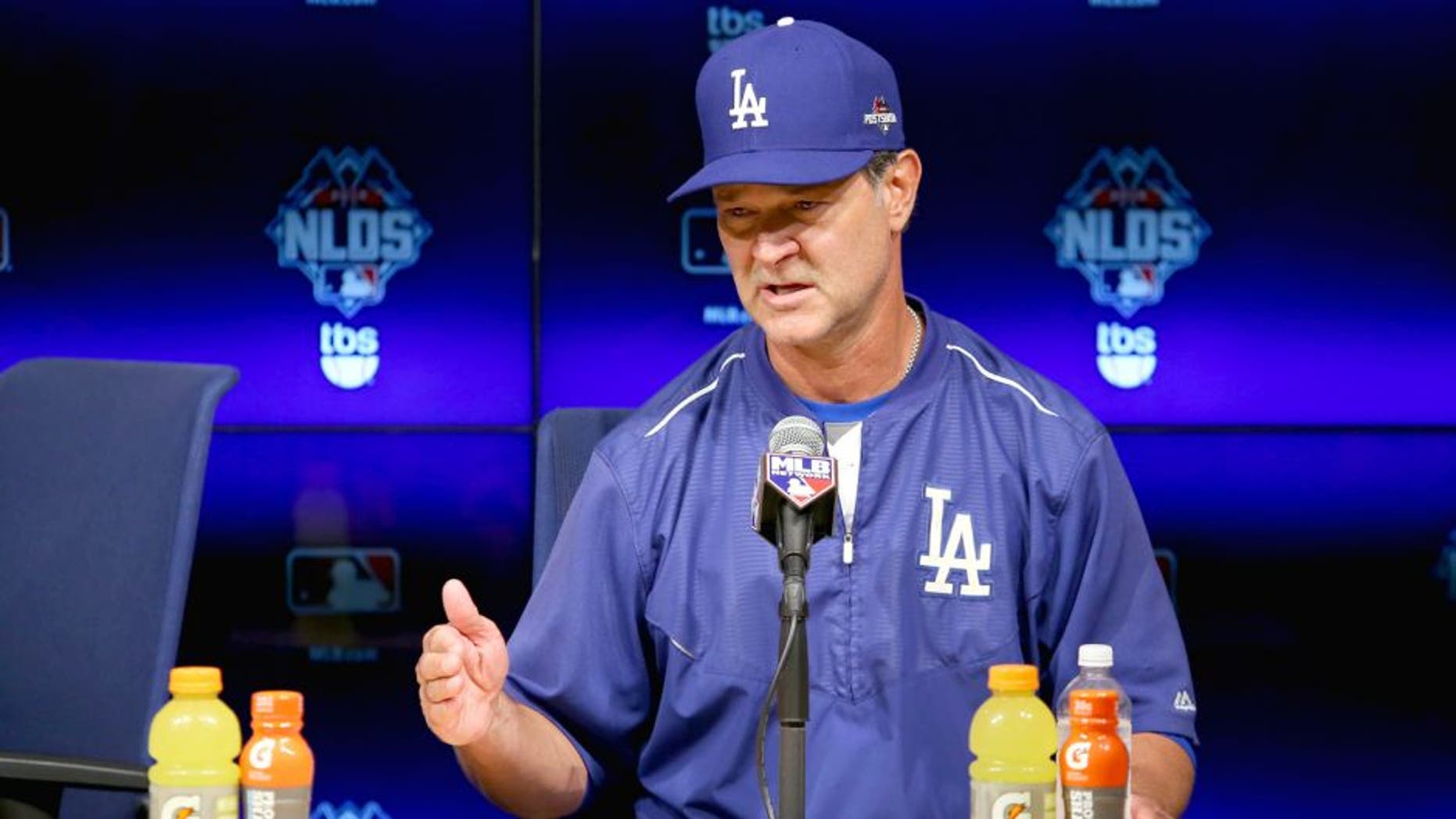 LOS ANGELES, CA - OCTOBER 10: Manager Don Mattingly #8 of the Los Angeles Dodgers speaks to the media after the Dodgers 5-2 win against the New York Mets in game two of the National League Division Series at Dodger Stadium on October 10, 2015 in Los Angeles, California. (Photo by Sean M. Haffey/Getty Images)