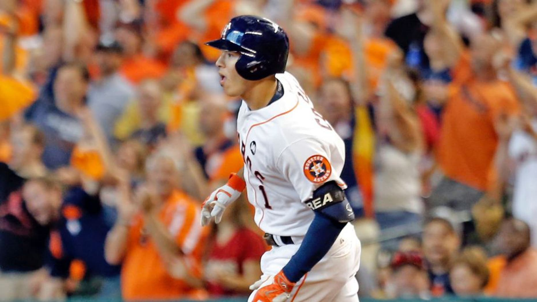 Oct 12, 2015; Houston, TX, USA; Houston Astros shortstop Carlos Correa (1) rounds the bases after hitting a solo home run against the Kansas City Royals during the third inning in game four of the ALDS at Minute Maid Park. Mandatory Credit: Thomas B. Shea-USA TODAY Sports
