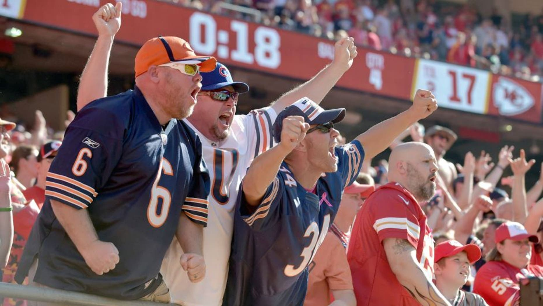 Oct 11, 2015; Kansas City, MO, USA; Chicago Bears react after the winning touchdown play against the Kansas City Chiefs during the second half at Arrowhead Stadium. The Bears won 18-17. Mandatory Credit: Denny Medley-USA TODAY Sports
