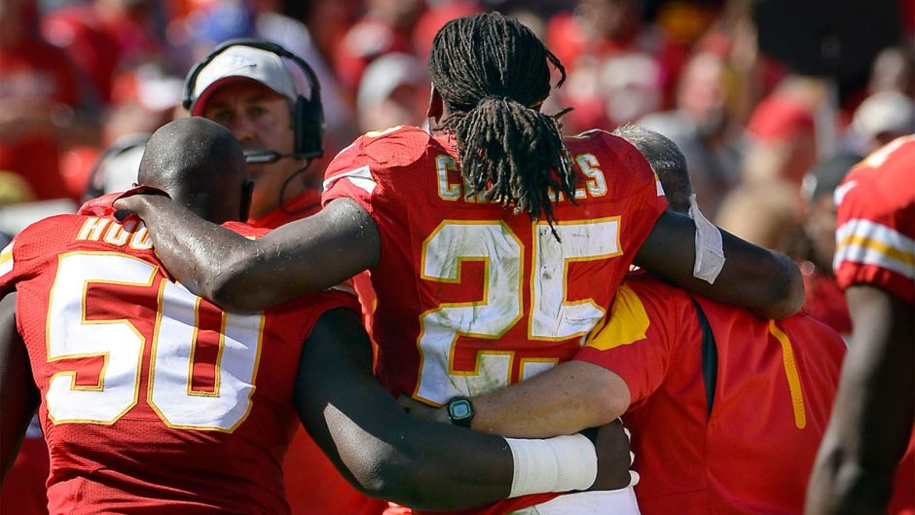 Kansas City Chiefs running back Jamaal Charles is helped off the field after getting injured during the third quarter on Sunday, Oct. 11, 2015, at Arrowhead Stadium in Kansas City, Mo. (Keith Myers/Kansas City Star/TNS via Getty Images)