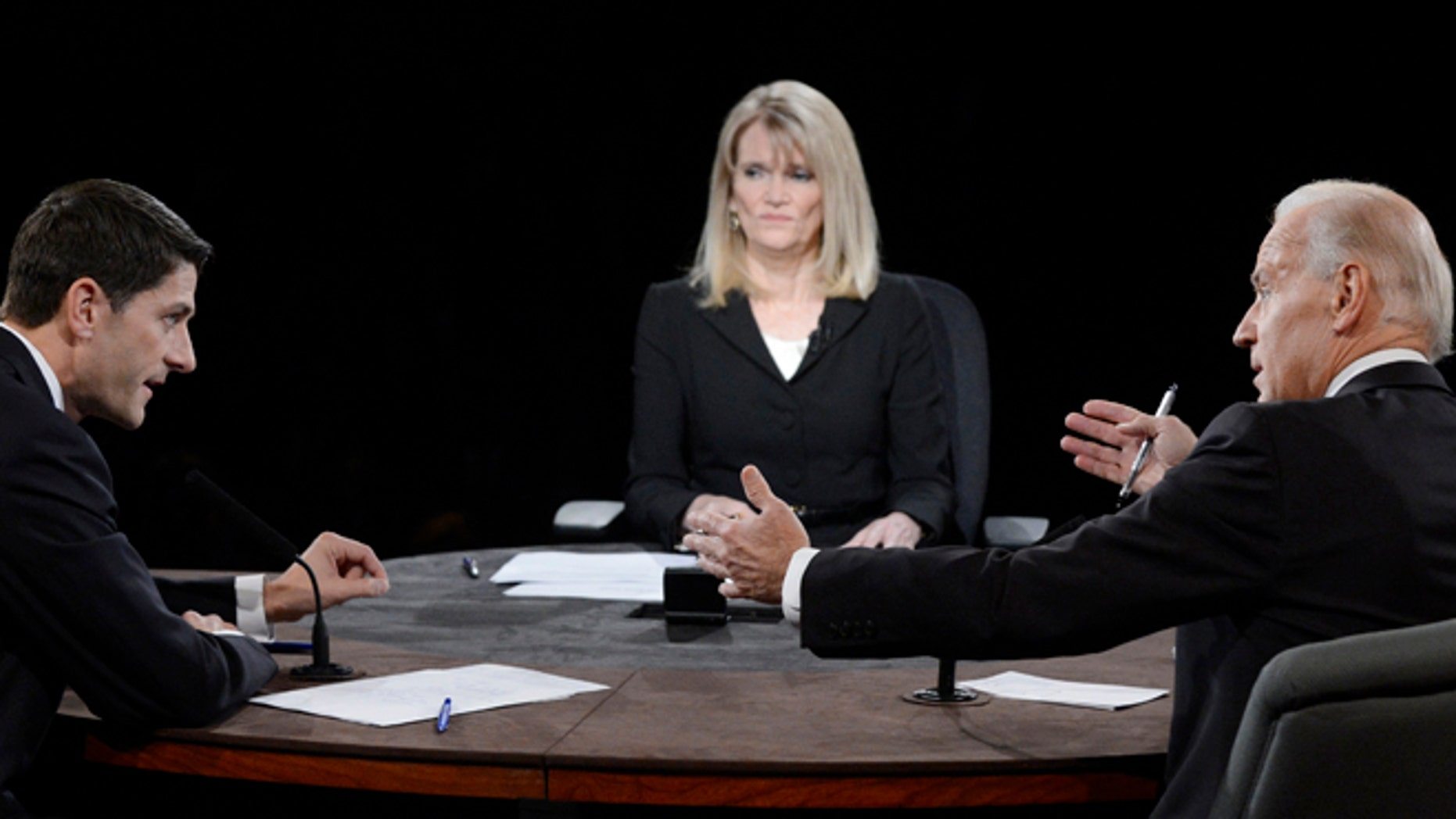 Oct. 11, 2012: Moderator Martha Raddatz watches as  Joe Biden and Paul Ryan participate in the vice presidential debate.