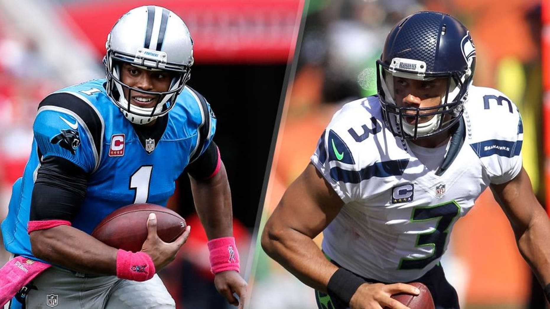 TAMPA, FL - OCTOBER 4: Quarterback Cam Newton #1 of the Carolina Panthers on a running play during the game against the Tampa Bay Buccaneers at Raymond James Stadium on October 4, 2015 in Tampa, Florida. Panthers defeated the Buccaneers 37 to 23. (Photo by Don Juan Moore/Getty Images), CINCINNATI, OH - OCTOBER 11: Russell Wilson #3 of the Seattle Seahawks runs with the ball during the second quarter of the game against the Cincinnati Bengals at Paul Brown Stadium on October 11, 2015 in Cincinnati, Ohio. (Photo by John Grieshop/Getty Images)