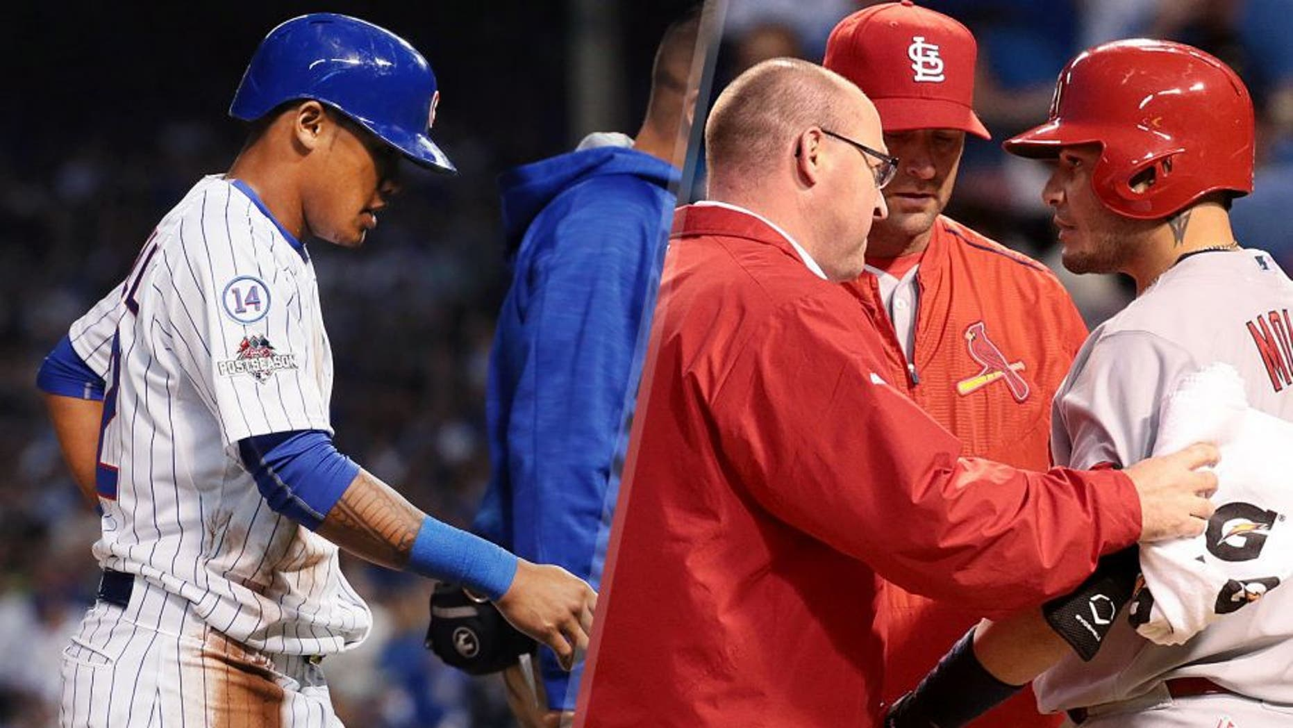 Addison Russell #22 of the Chicago Cubs leaves the field after suffering an apparent injury in the fourth inning against the St. Louis Cardinals during game three of the National League Division Series at Wrigley Field on October 12, 2015 in Chicago, Illinois. (Photo by Jonathan Daniel/Getty Images) Mike Matheny and a Cardinals trainer check on Yadier Molina during the fourth inning on Monday, Oct. 12, 2015, at Wrigley Field in Chicago. (Robert Cohen/St. Louis Post-Dispatch/TNS via Getty Images)