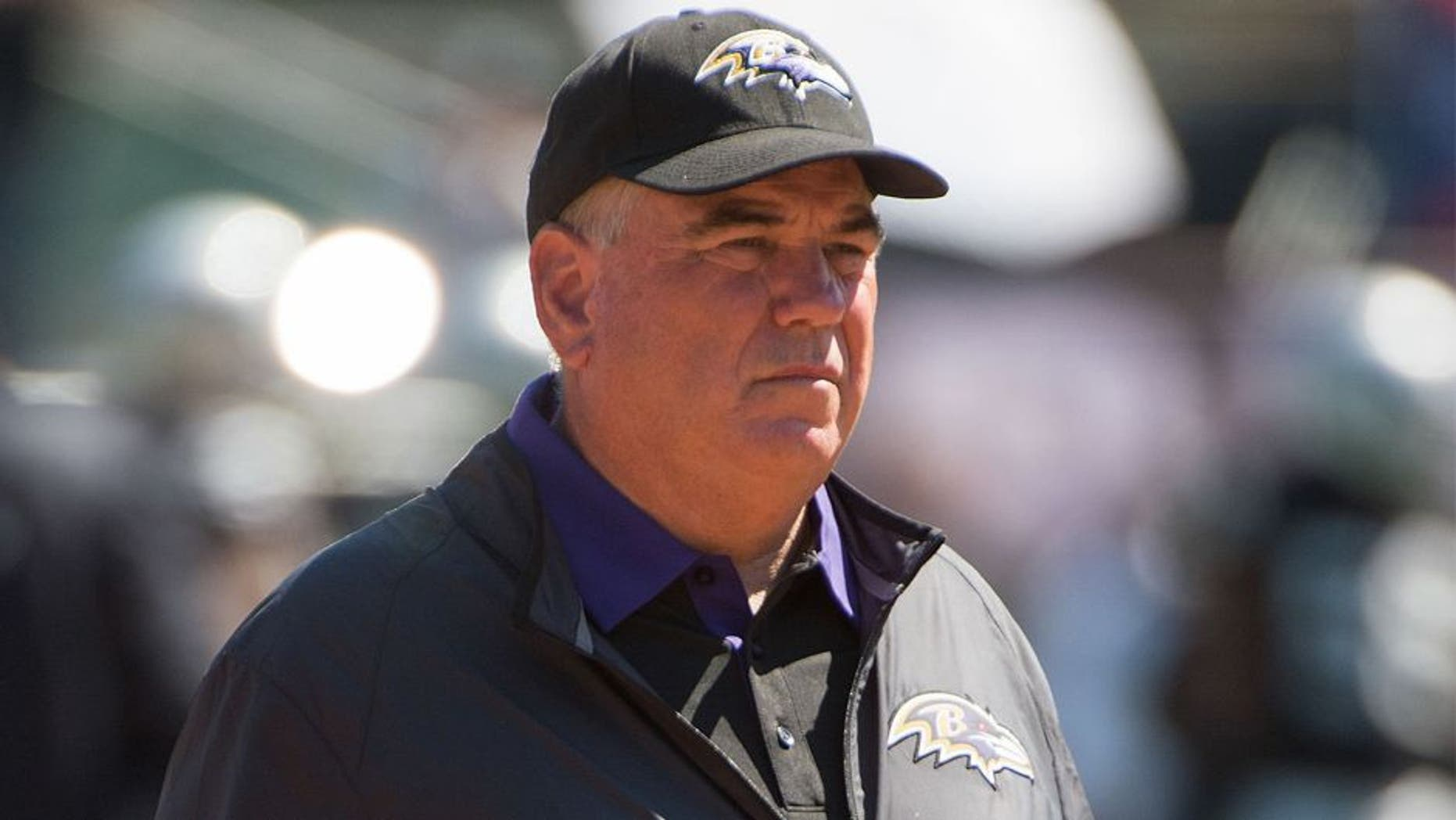 September 20, 2015; Oakland, CA, USA; Baltimore Ravens defensive coordinator Dean Pees before the game against the Oakland Raiders at O.co Coliseum. The Raiders defeated the Ravens 37-33. Mandatory Credit: Kyle Terada-USA TODAY Sports