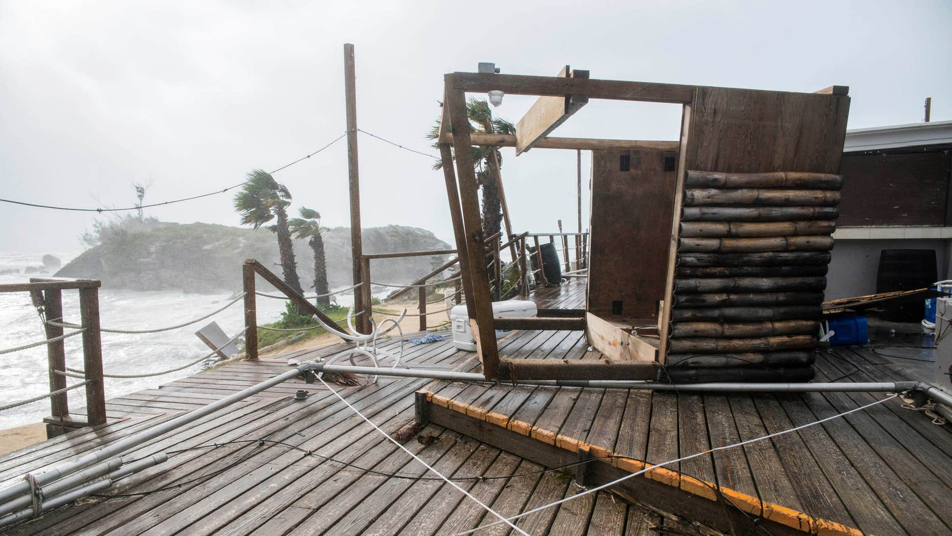 Oct. 13, 2016: A tiki bar lays in a shamble following Hurricane Nicole, in Tobacco Bay, St. Georges, Bermuda,.