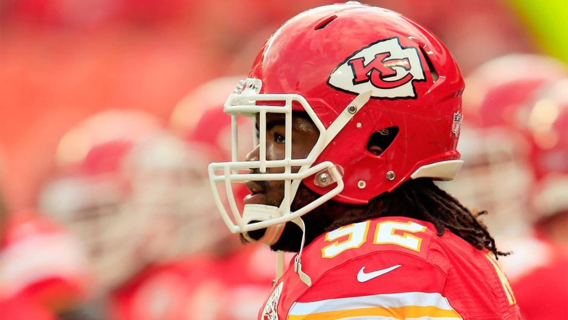 KANSAS CITY, MO - AUGUST 07: Dontari Poe #92 of the Kansas City Chiefs warms up prior to the preseason game against the Cincinnati Bengals at Arrowhead Stadium on August 7, 2014 in Kansas City, Missouri. (Photo by Jamie Squire/Getty Images)