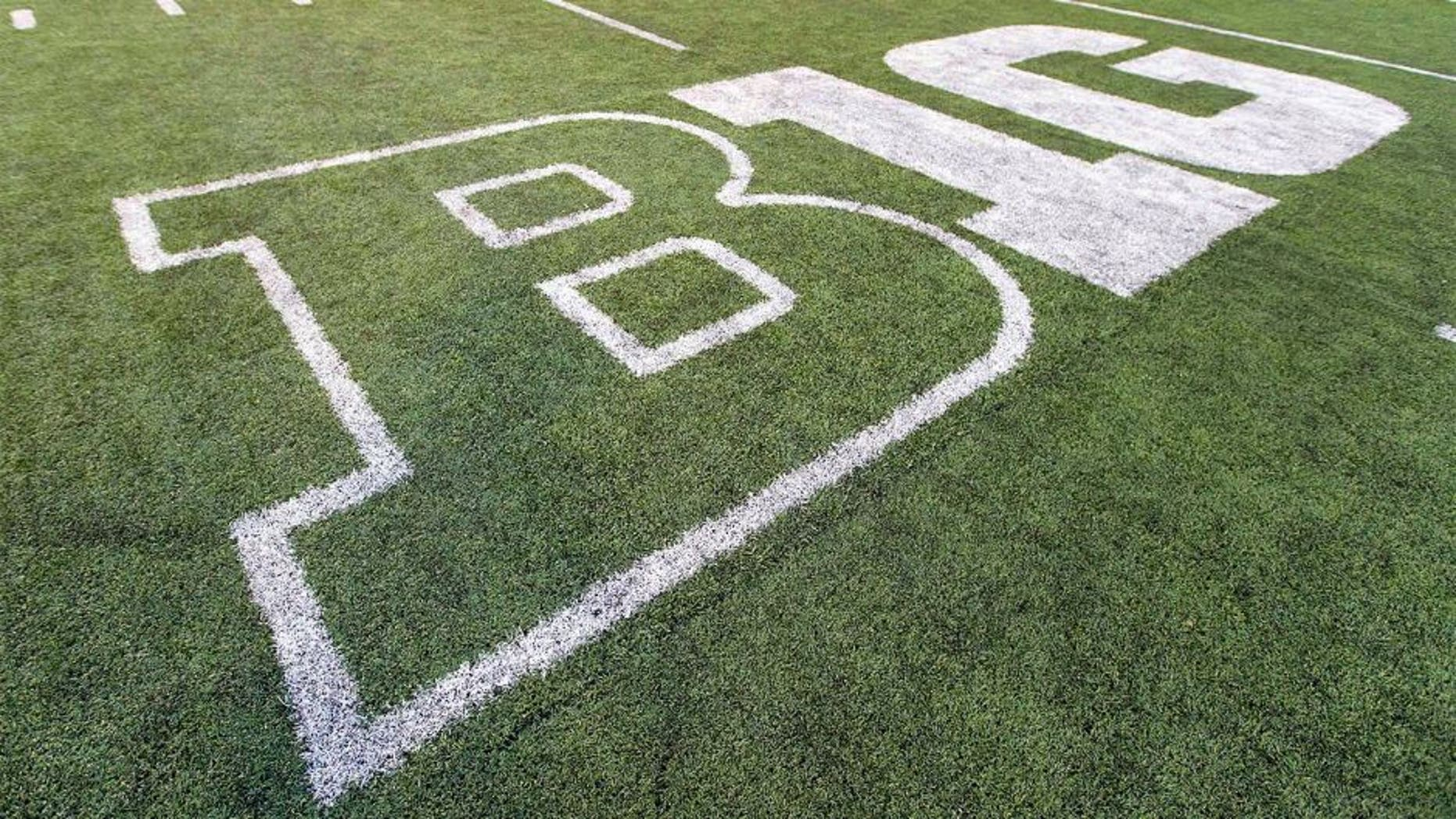 Oct 12, 2013; Madison, WI, USA; The Big Ten logo on the field at Camp Randall Stadium following the game between the Northwestern Wildcats and Wisconsin Badgers. Wisconsin won 35-6. Mandatory Credit: Jeff Hanisch-USA TODAY Sports