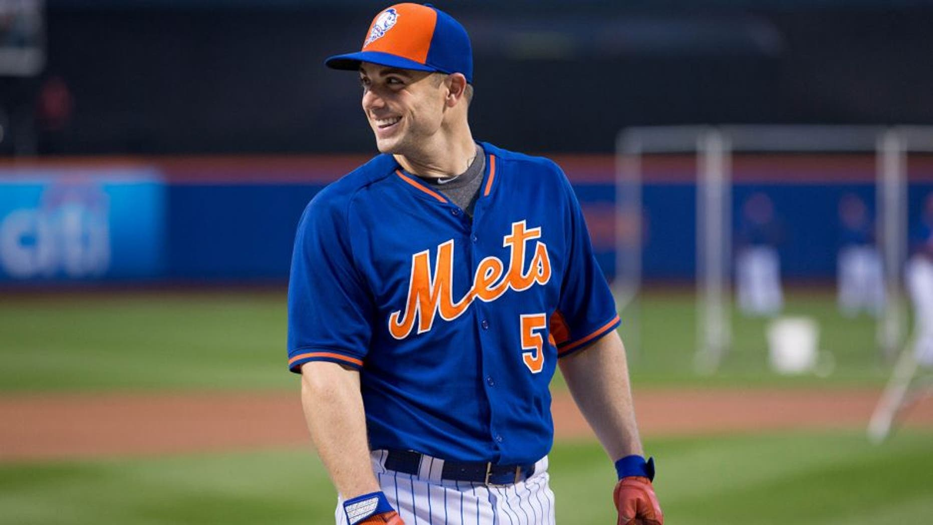 NEW YORK, NY - OCTOBER 13: David Wright #5 of the New York Mets looks on during batting practice before Game 4 of the NLDS against the Los Angeles Dodgers at Citi Field on Tuesday, October 13, 2015 in the Queens borough of New York City. (Photo by Alex Trautwig/MLB Photos via Getty Images) *** Local Caption)