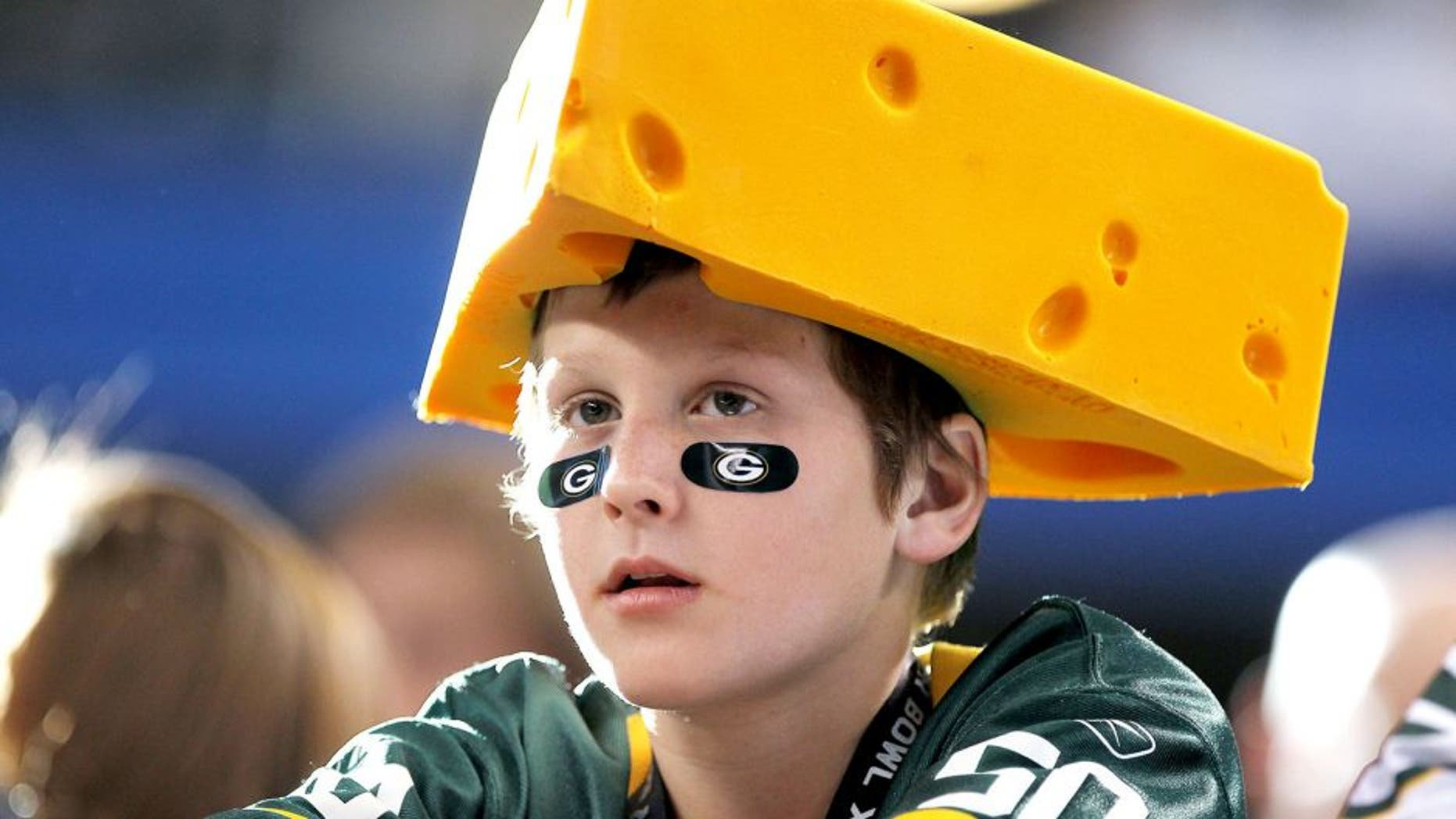 ARLINGTON, TX - FEBRUARY 06: A Green Bay Packers' fan waits before the Packers take on the Pittsburgh Steelers in Super Bowl XLV at Cowboys Stadium on February 6, 2011 in Arlington, Texas. (Photo by Doug Pensinger/Getty Images)