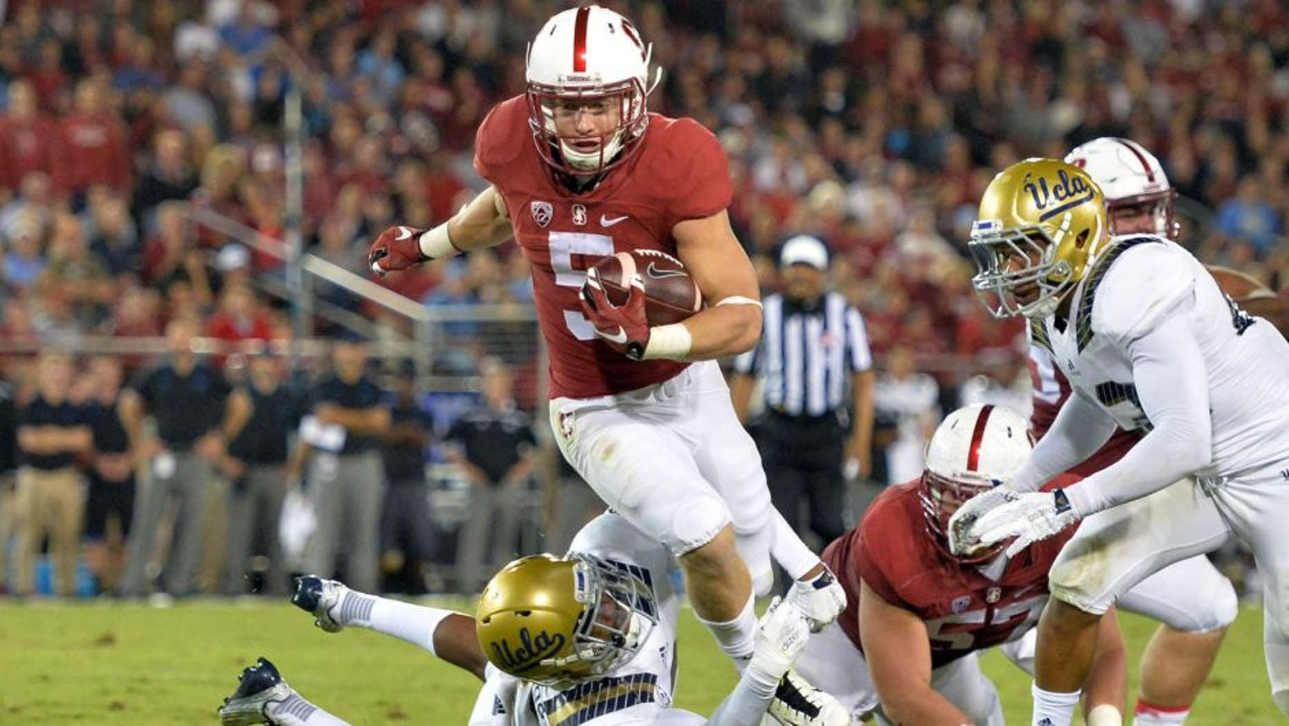 September 12, 2015; Stanford, CA, USA; Stanford Cardinal running back Christian McCaffrey (5) before the game against the Central Florida Knights at Stanford Stadium. Mandatory Credit: Kyle Terada-USA TODAY Sports