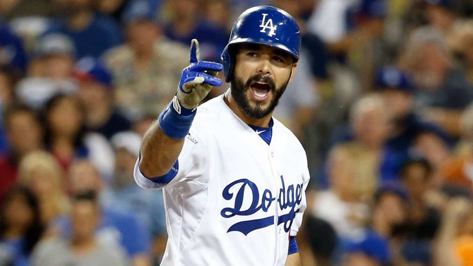 LOS ANGELES, CA - OCTOBER 09: Andre Ethier #16 of the Los Angeles Dodgers reacts after striking out to home plate umpire Alan Porter #64 in game one of the National League Division Series against the New York Mets at Dodger Stadium on October 9, 2015 in Los Angeles, California. (Photo by Sean M. Haffey/Getty Images)