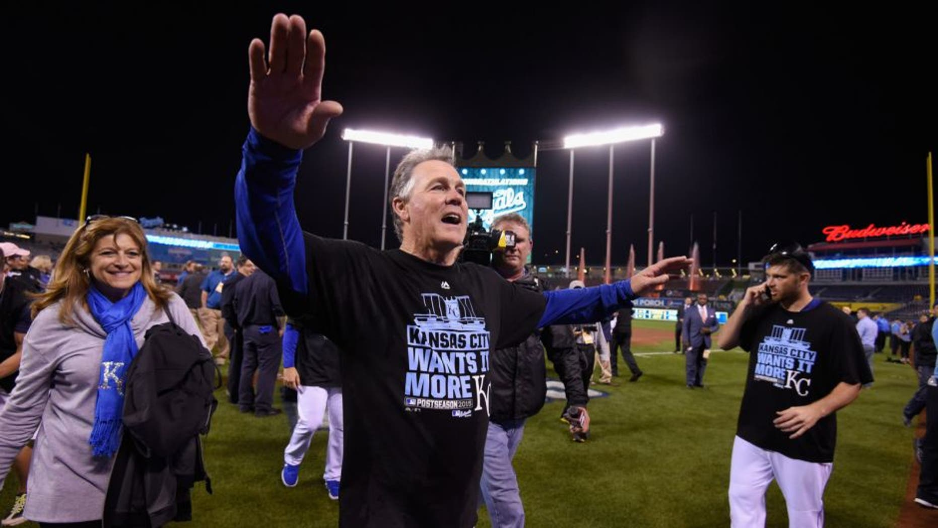 KANSAS CITY, MO - OCTOBER 14: Manager Ned Yost #3 of the Kansas City Royals celebrates after the Kansas City Royals defeat the Houston Astros 7-2 in game five of the American League Divison Series at Kauffman Stadium on October 14, 2015 in Kansas City, Missouri. (Photo by Ed Zurga/Getty Images)