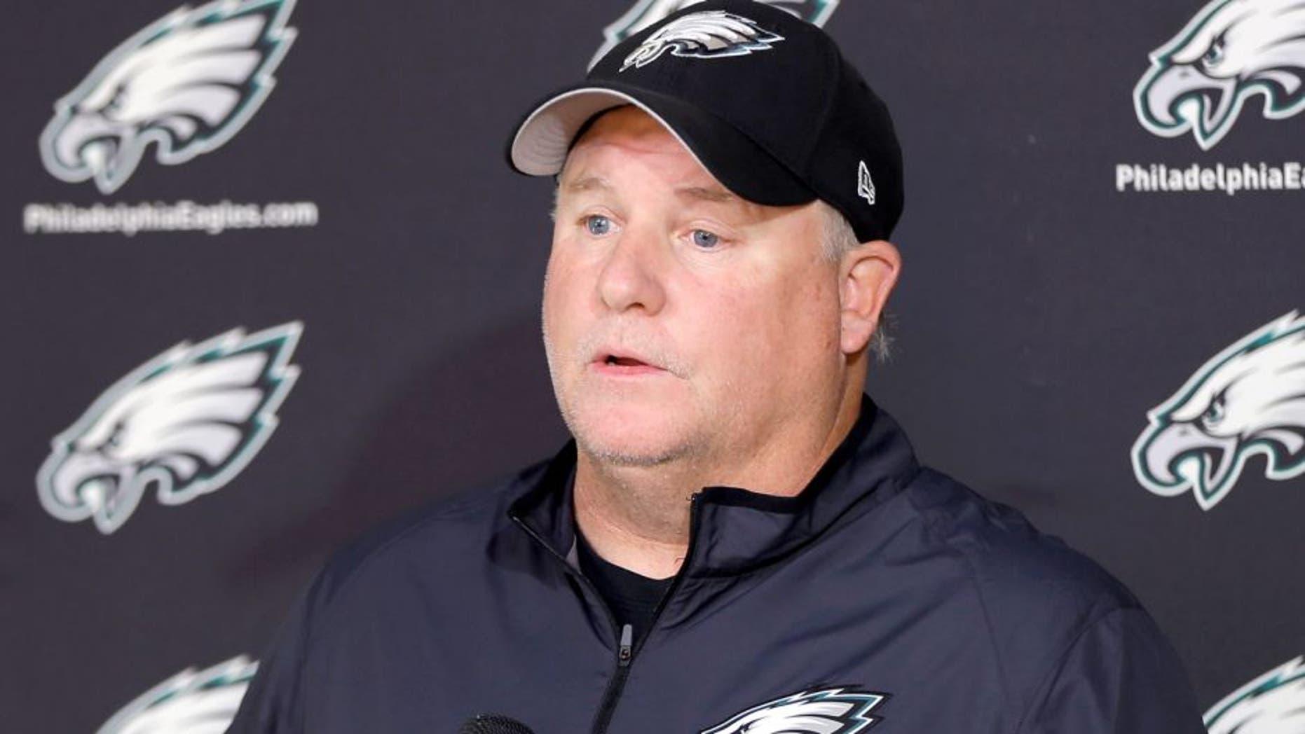 Philadelphia Eagles head coach Chip Kelly speaks with members of the media at the NFL football team's practice facility, Thursday, Oct. 15, 2015, in Philadelphia. (AP Photo/Matt Rourke)