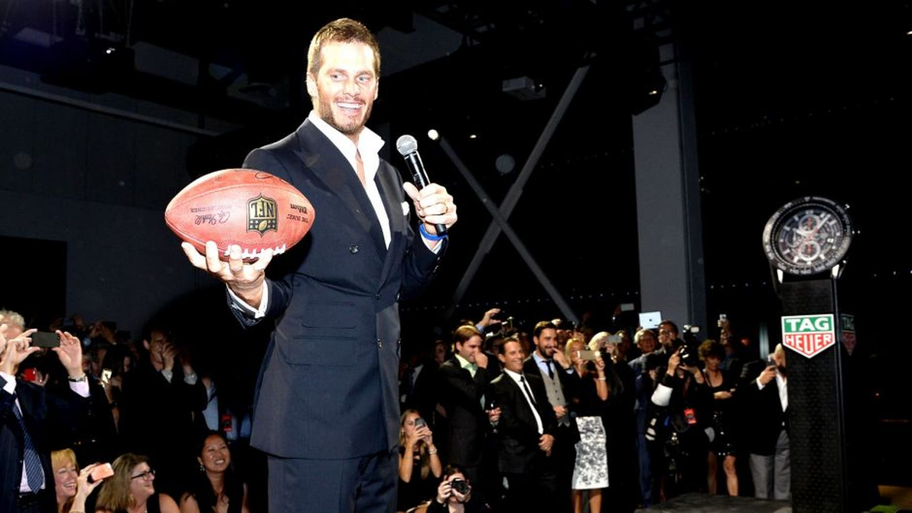 NEW YORK, NY - OCTOBER 13: NFL football player Tom Brady appears as TAG Heuer announces Tom Brady as the new brand ambassador and launches the new Carrera - Heuer 01 on October 13, 2015 in New York City. (Photo by Mike Coppola/Getty Images for TAG Heuer)