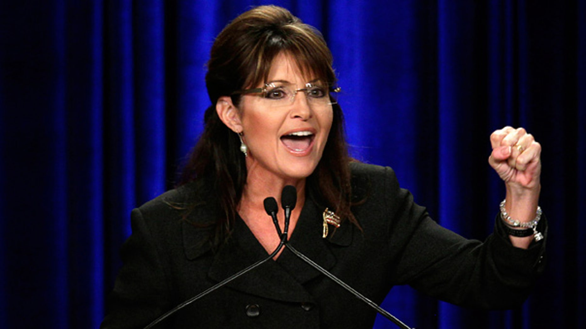 Oct. 16: Former Alaska Gov. Sarah Palin speaks during a rally in Anaheim, Calif.