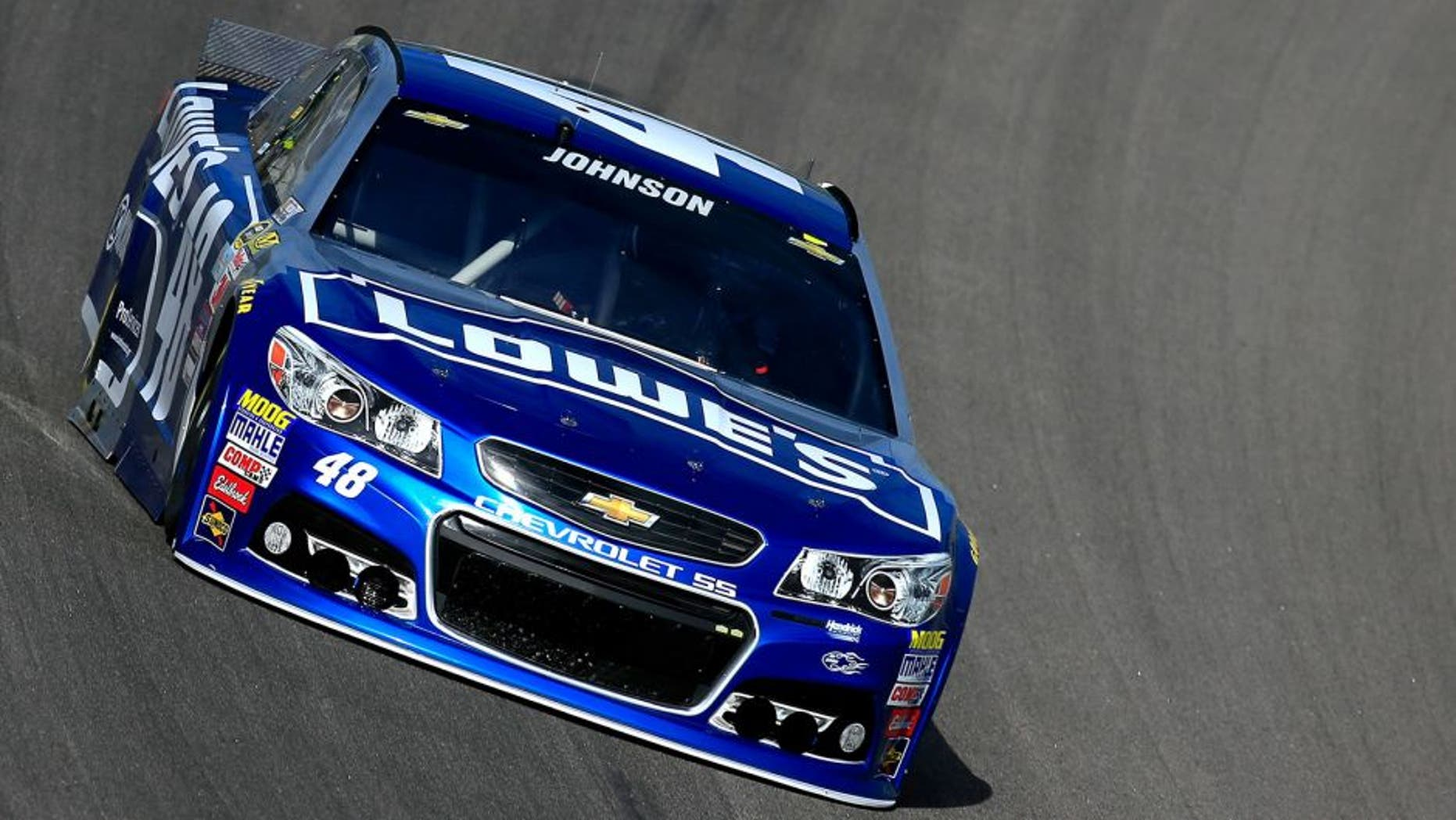 KANSAS CITY, KS - OCTOBER 17: Jimmie Johnson, driver of the #48 Lowe's Chevrolet, practices for the NASCAR Sprint Cup Series Hollywood Casino 400 at Kansas Speedway on October 17, 2015 in Kansas City, Kansas. (Photo by Chris Trotman/NASCAR via Getty Images)
