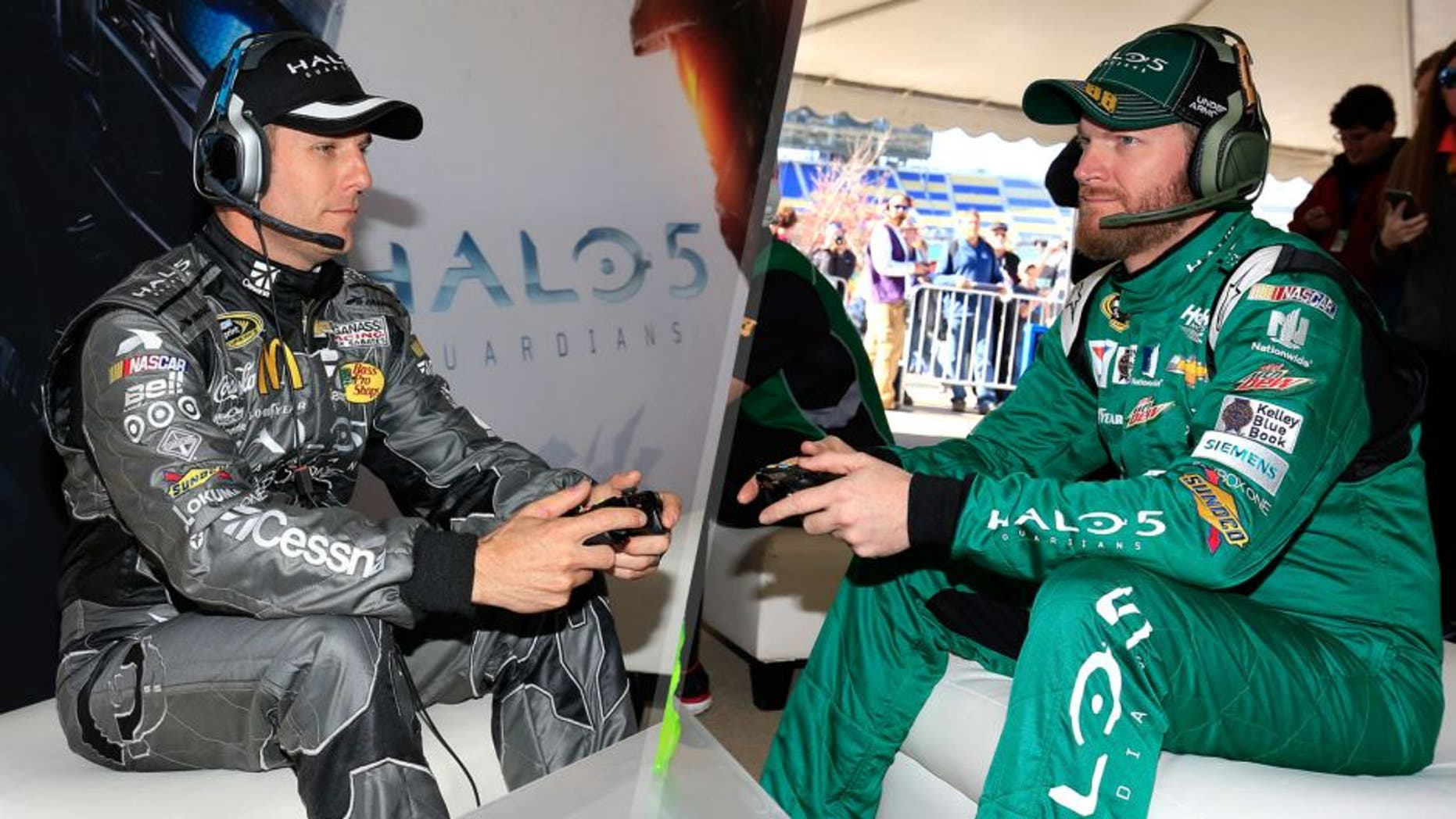 KANSAS CITY, KS - OCTOBER 16: Dale Earnhardt Jr., driver of the #88 Halo 5: Master Chief Chevrolet, and Jamie McMurray, driver of the #1 Halo 5: Spartan Locke/Cessna Chevrolet, play Halo 5 Guardians following practice for the NASCAR Sprint Cup Series Hollywood Casino 400 at Kansas Speedway on October 16, 2015 in Kansas City, Kansas. (Photo by Chris Trotman/NASCAR via Getty Images), KANSAS CITY, KS - OCTOBER 16: Dale Earnhardt Jr., driver of the #88 Halo 5: Master Chief Chevrolet, plays Halo 5 Guardians following practice for the NASCAR Sprint Cup Series Hollywood Casino 400 at Kansas Speedway on October 16, 2015 in Kansas City, Kansas. (Photo by Chris Trotman/NASCAR via Getty Images)