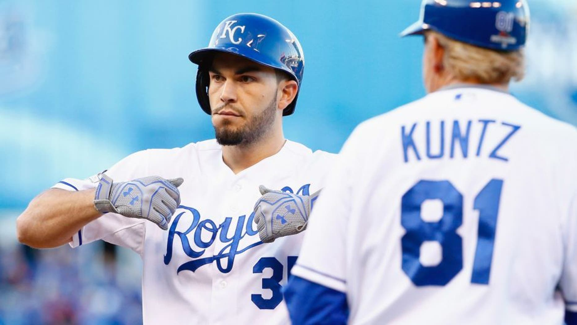 Eric Hosmer #35 of the Kansas City Royals reacts after hitting an RBI single in the seventh inning against the Toronto Blue Jays in game two of the American League Championship Series at Kauffman Stadium on October 17, 2015 in Kansas City, Missouri. (Photo by Jamie Squire/Getty Images)