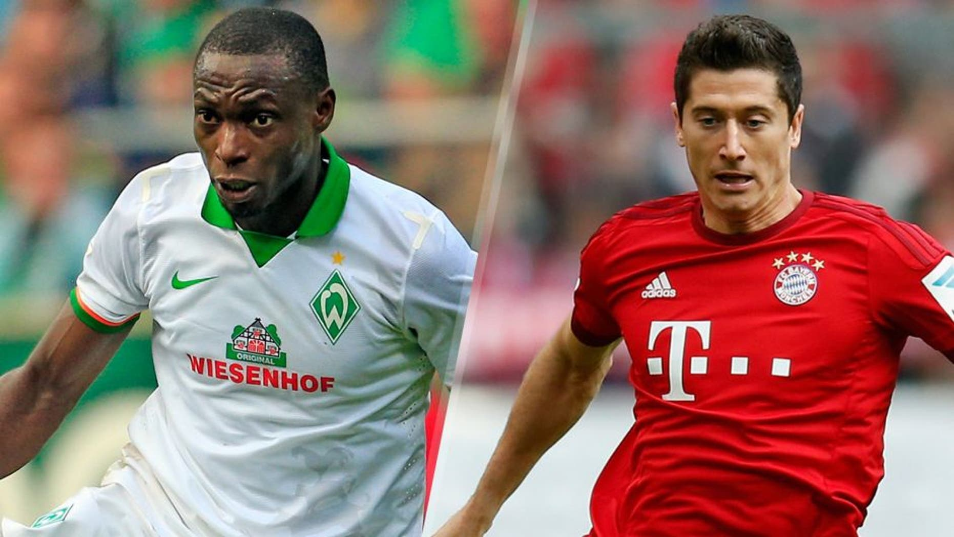 BREMEN, GERMANY - SEPTEMBER 19: Anthony Ujah of Bremen plays the ball during the Bundesliga match between Werder Bremen and FC Ingolstadt at Weserstadion on September 19, 2015 in Bremen, Germany. (Photo by Martin Stoever/Bongarts/Getty Images) MUNICH, GERMANY - OCTOBER 04: Robert Lewandowski of Bayern Muenchen runs with the ball during the Bundesliga match between FC Bayern Muenchen and Borussia Dortmund at Allianz Arena on October 4, 2015 in Munich, Germany. (Photo by Boris Streubel/Getty Images)