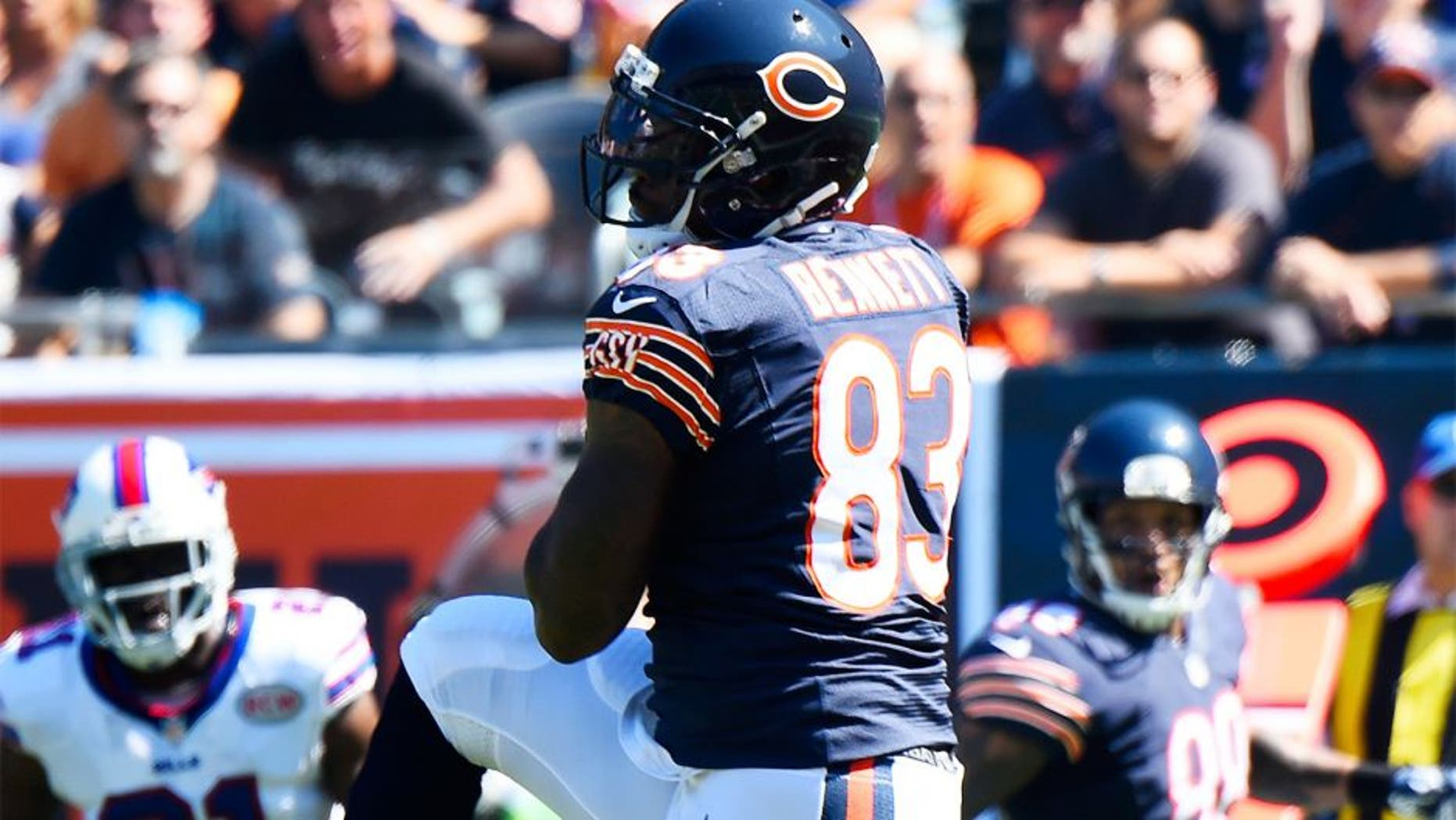 Sep 7, 2014; Chicago, IL, USA; Chicago Bears tight end Martellus Bennett (83) makes a touchdown catch against the Buffalo Bills during the first quarter at Soldier Field. Mandatory Credit: Mike DiNovo-USA TODAY Sports