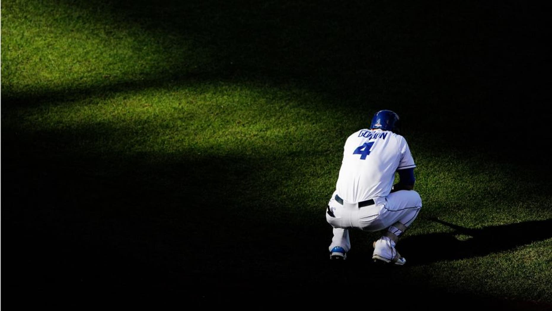 KANSAS CITY, MO - OCTOBER 17: Alex Gordon #4 of the Kansas City Royals waits to bat in the second inning against the Toronto Blue Jays in game two of the American League Championship Series at Kauffman Stadium on October 17, 2015 in Kansas City, Missouri. (Photo by Ed Zurga/Getty Images)
