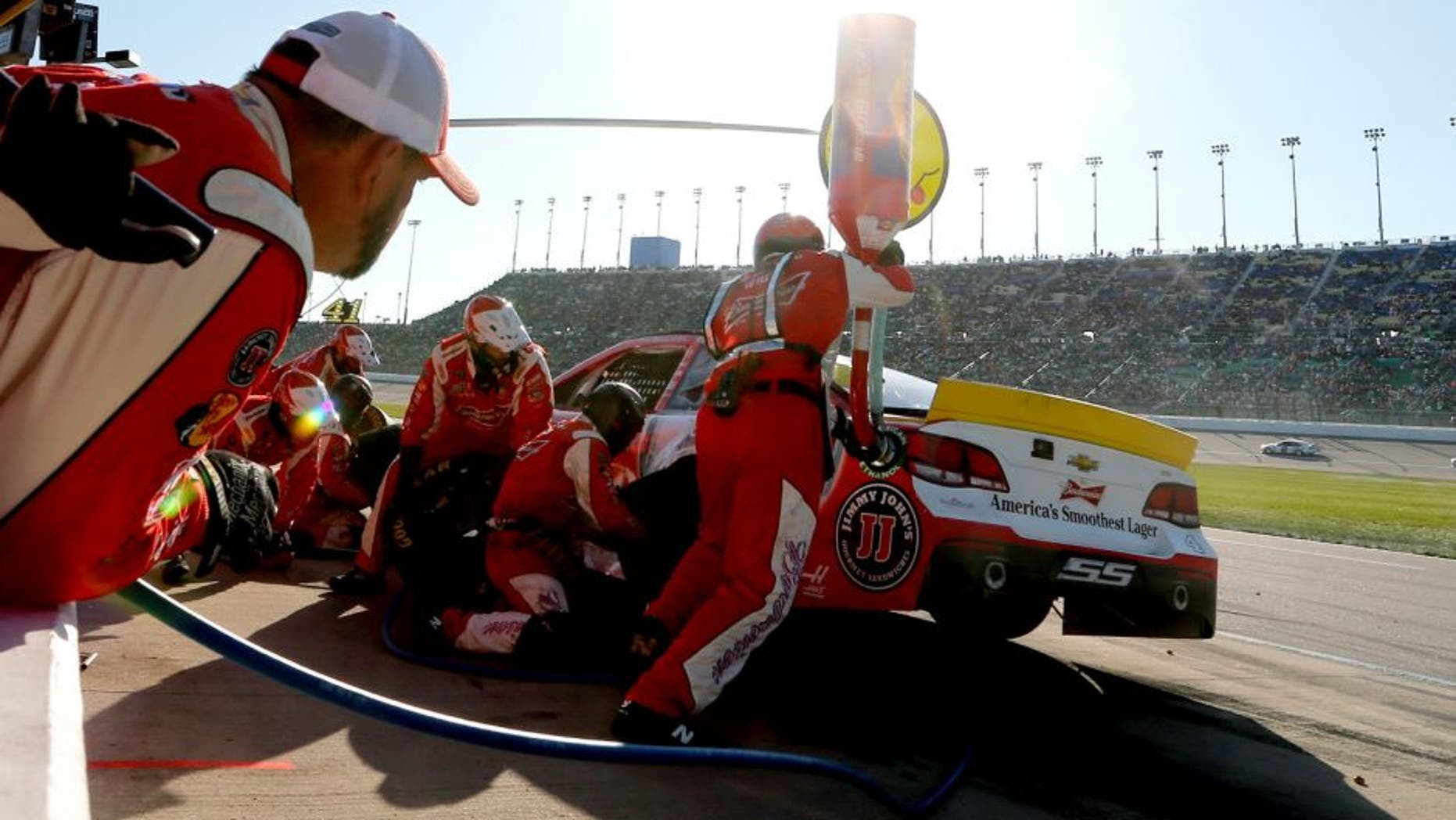 KANSAS CITY, KS - OCTOBER 18: Kevin Harvick, driver of the #4 Budweiser/Jimmy John's Chevrolet, pits during the NASCAR Sprint Cup Series Hollywood Casino 400 at Kansas Speedway on October 18, 2015 in Kansas City, Kansas. (Photo by Brian Lawdermilk/NASCAR via Getty Images)
