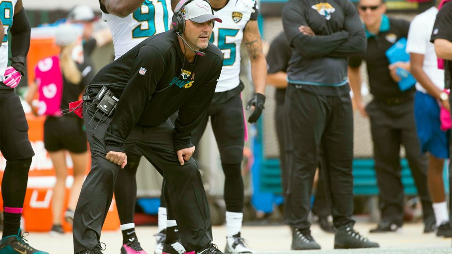 Oct 18, 2015; Jacksonville, FL, USA; Jacksonville Jaguars head coach Gus Bradley during the second quarter against the Houston Texans at EverBank Field. Mandatory Credit: Logan Bowles-USA TODAY Sports