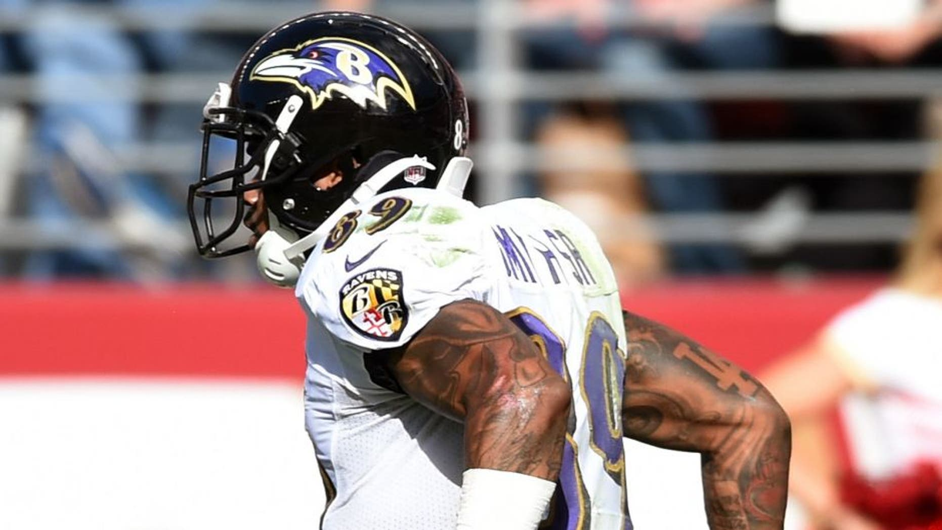 SANTA CLARA, CA - OCTOBER 18: wide receiver Steve Smith #89 of the Baltimore Ravens celebrates after a touchdown against the San Francisco 49ers during their NFL game at Levi's Stadium on October 18, 2015 in Santa Clara, California. (Photo by Thearon W. Henderson/Getty Images)
