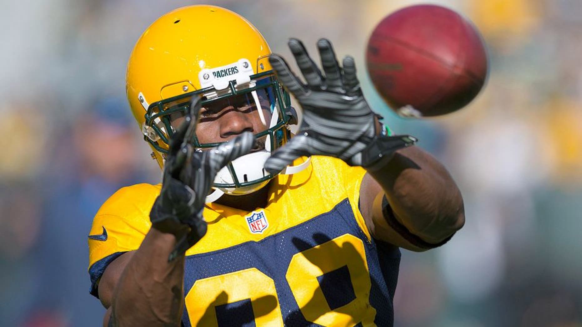 Oct 18, 2015; Green Bay, WI, USA; Green Bay Packers wide receiver Ty Montgomery (88) catches a pass during warmups prior to the game against the San Diego Chargers at Lambeau Field. Mandatory Credit: Jeff Hanisch-USA TODAY Sports