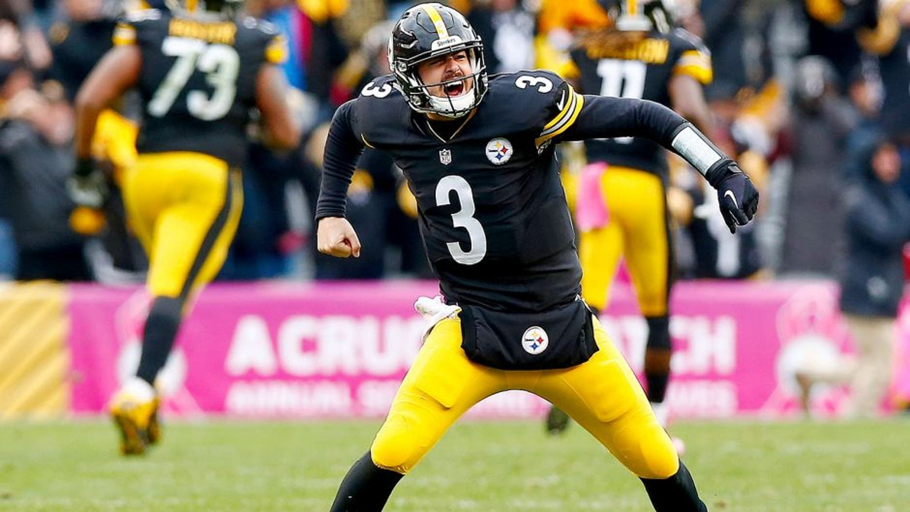 PITTSBURGH, PA - OCTOBER 18: Landry Jones #3 of the Pittsburgh Steelers celebrates a 4th quarter touchdown pass during the game against the Arizona Cardinals at Heinz Field on October 18, 2015 in Pittsburgh, Pennsylvania. (Photo by Jared Wickerham/Getty Images)