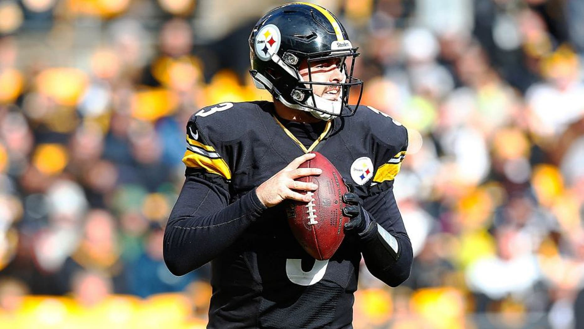 PITTSBURGH, PA - OCTOBER 18: Landry Jones #3 of the Pittsburgh Steelers drops back to pass in the second half during the game against the Arizona Cardinals at Heinz Field on October 18, 2015 in Pittsburgh, Pennsylvania. (Photo by Jared Wickerham/Getty Images)