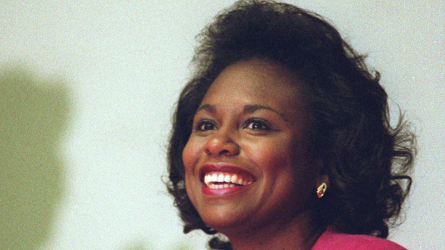 In this April 8, 1993, file photo, Anita Hill is seen in Cambridge, Mass.