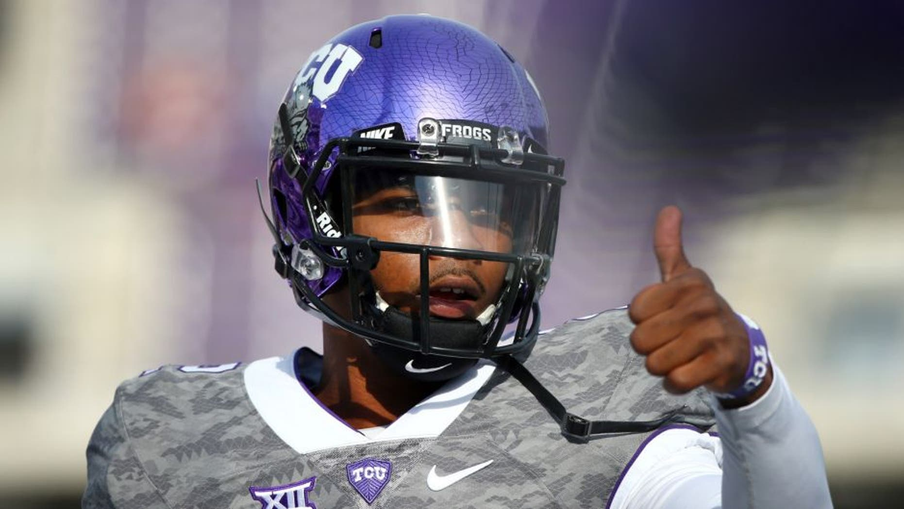 FORT WORTH, TX - OCTOBER 03: Trevone Boykin #2 of the TCU Horned Frogs warms up before taking on the Texas Longhorns at Amon G. Carter Stadium on October 3, 2015 in Fort Worth, Texas. (Photo by Tom Pennington/Getty Images)