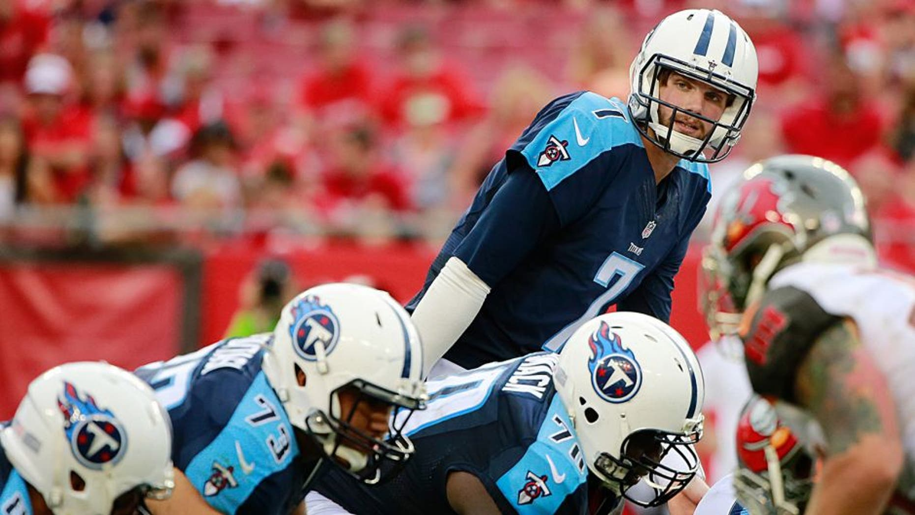 Sep 13, 2015; Tampa, FL, USA; Tennessee Titans quarterback Zach Mettenberger (7) looks on against the Tampa Bay Buccaneers during the second half at Raymond James Stadium. Tennessee Titans defeated the Tampa Bay Buccaneers 42-14. Mandatory Credit: Kim Klement-USA TODAY Sports