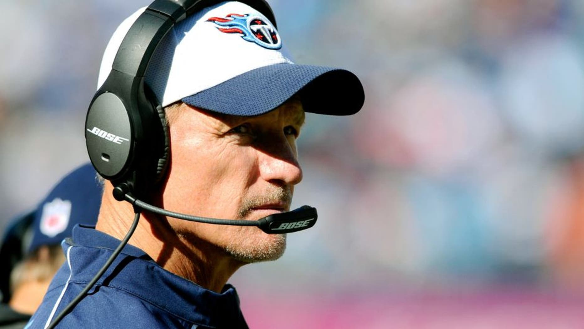 Oct 18, 2015; Nashville, TN, USA; Tennessee Titans head coach Ken Whisenhunt looks on from the sidelines during the second half against the Miami Dolphins at Nissan Stadium. The Dolphins won 38-10. Mandatory Credit: Christopher Hanewinckel-USA TODAY Sports