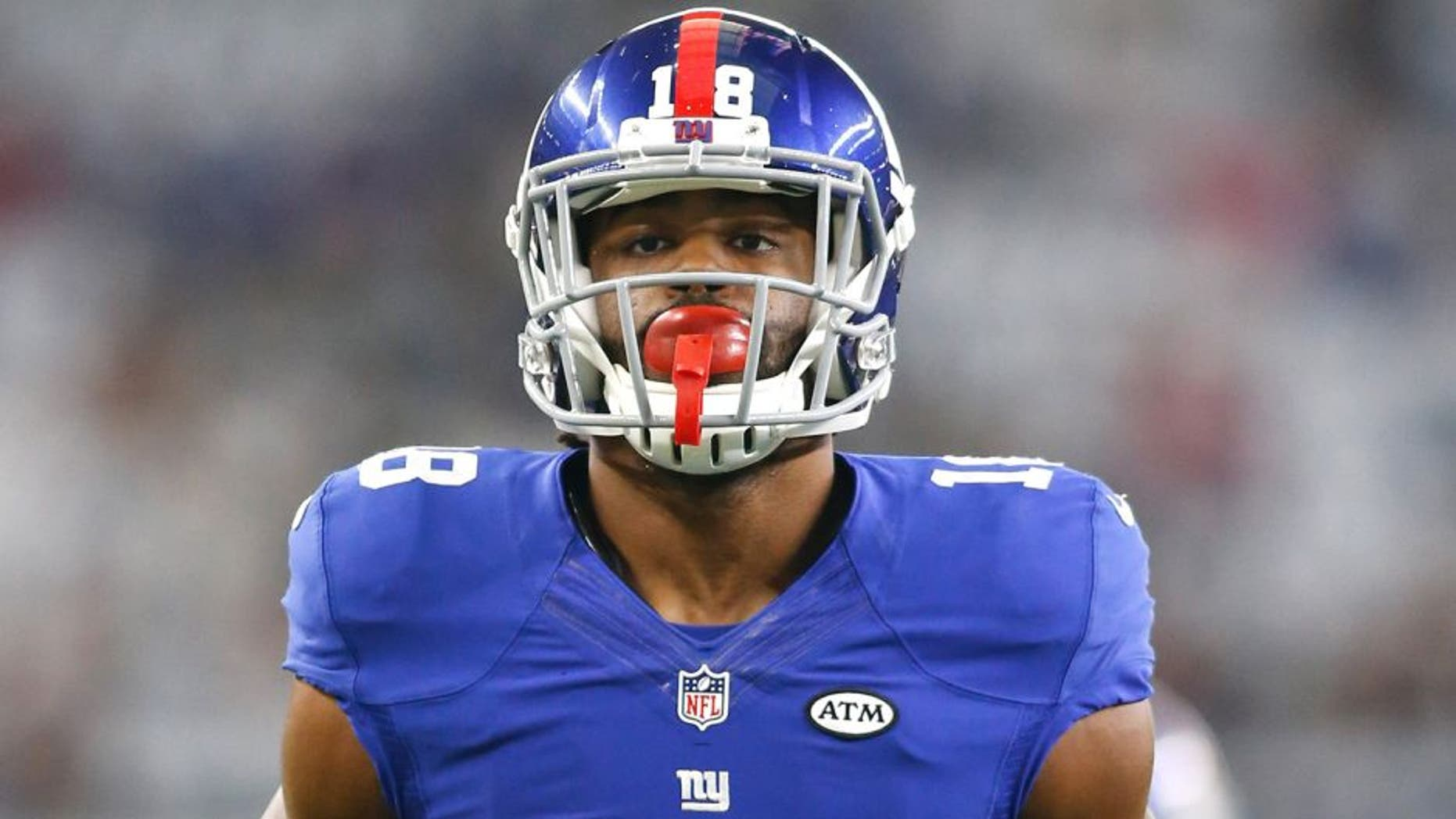 Sep 13, 2015; Arlington, TX, USA; New York Giants wide receiver Geremy Davis (18) runs with the ball before the game against the Dallas Cowboys at AT&T Stadium. Dallas won 27-26. Mandatory Credit: Tim Heitman-USA TODAY Sports
