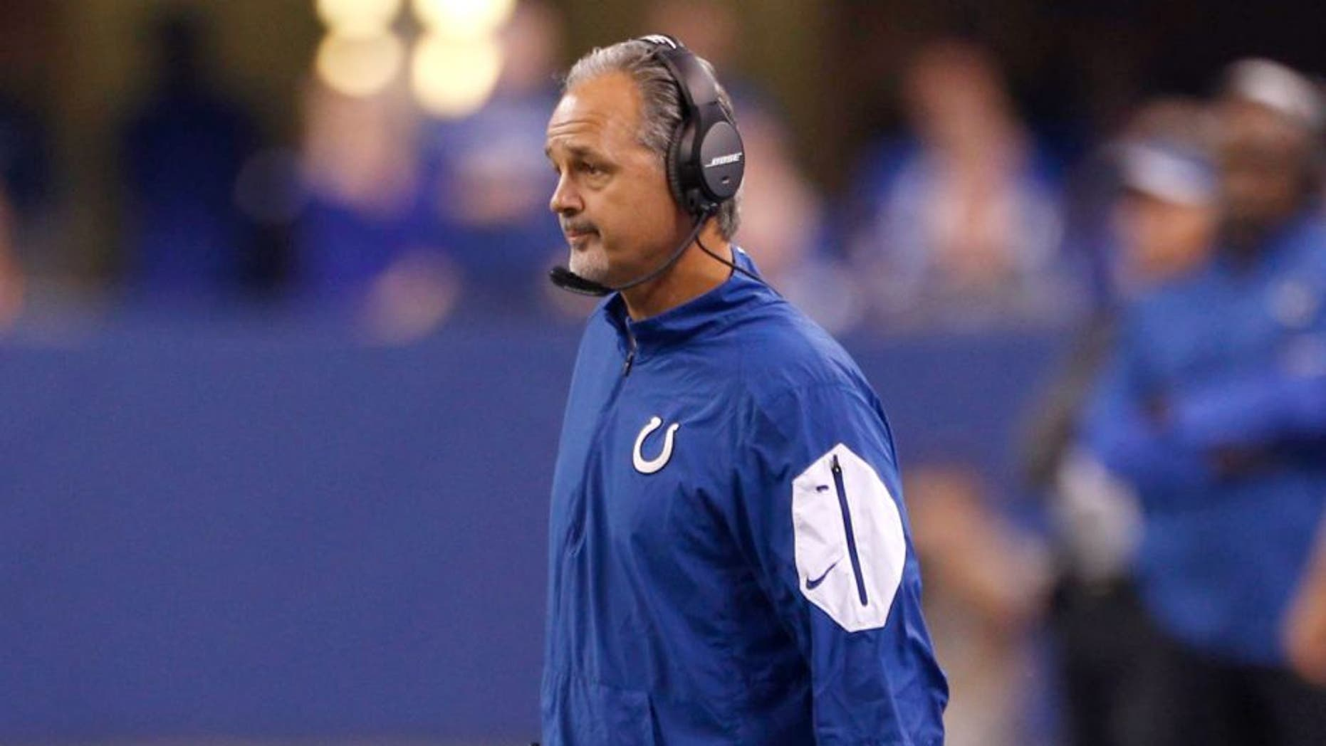 Oct 18, 2015; Indianapolis, IN, USA; Indianapolis Colts head coach Chuck Pagano during the NFL game against the New England Patriots at Lucas Oil Stadium. Mandatory Credit: Brian Spurlock-USA TODAY Sports