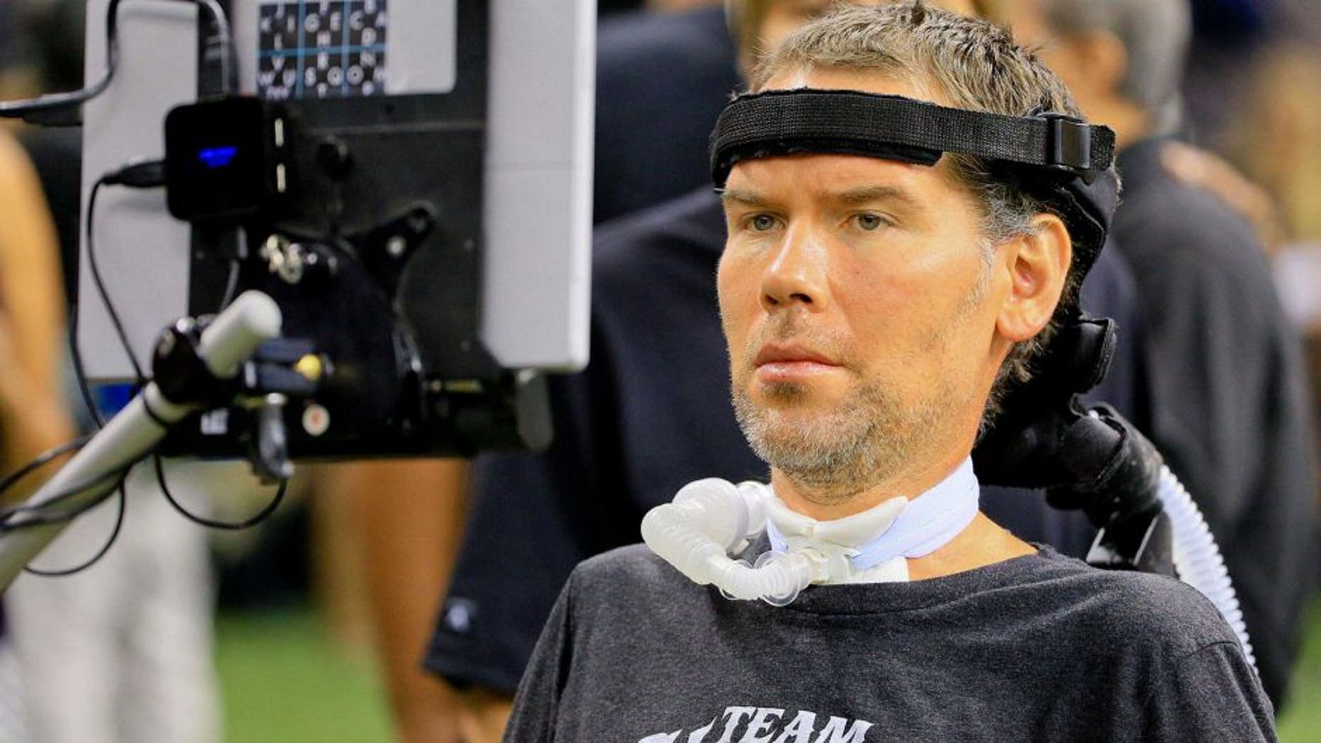 Sep 20, 2015; New Orleans, LA, USA; New Orleans Saints former player Steve Gleason who suffers from ALS is seen on the sideline during the second quarter of a game against the Tampa Bay Buccaneers at the Mercedes-Benz Superdome. Mandatory Credit: Derick E. Hingle-USA TODAY Sports