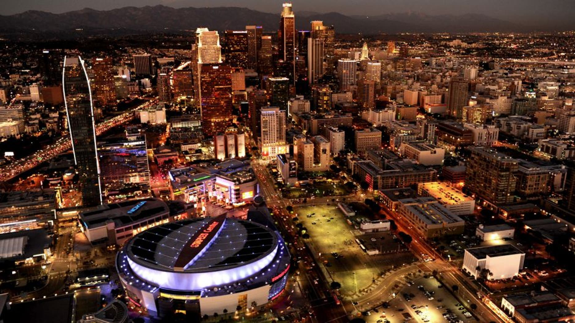 GRIFFITH PARK, CA NOVEMBER 4, 2014 -- Aerial view of the downtown Los Angeles skyline with Staples Center and LA Live foreground left. taken on November 4, 2014. (Photo by Wally Skalij/Los Angeles Times via Getty Images)