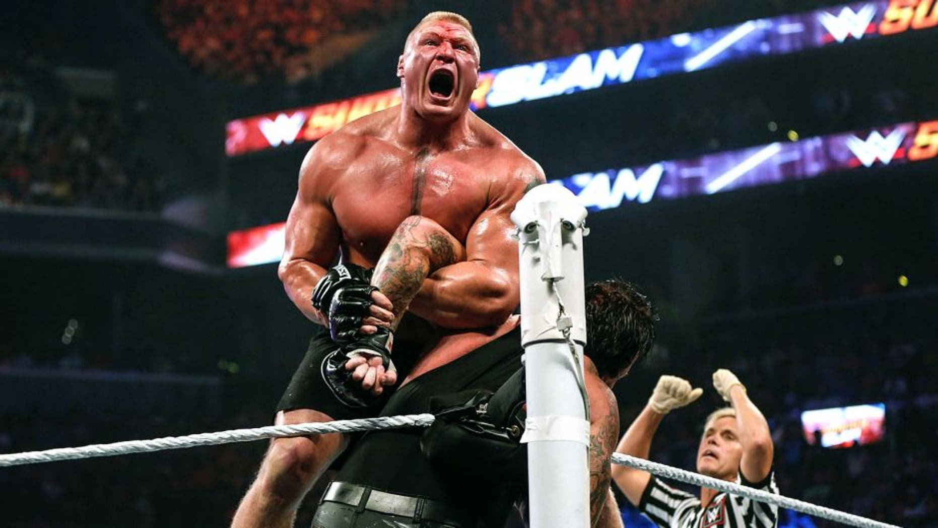 NEW YORK, NY - AUGUST 23: Brock Lesnar and The Undertaker battle it out at the WWE SummerSlam 2015 at Barclays Center of Brooklyn on August 23, 2015 in New York City. (Photo by JP Yim/Getty Images)