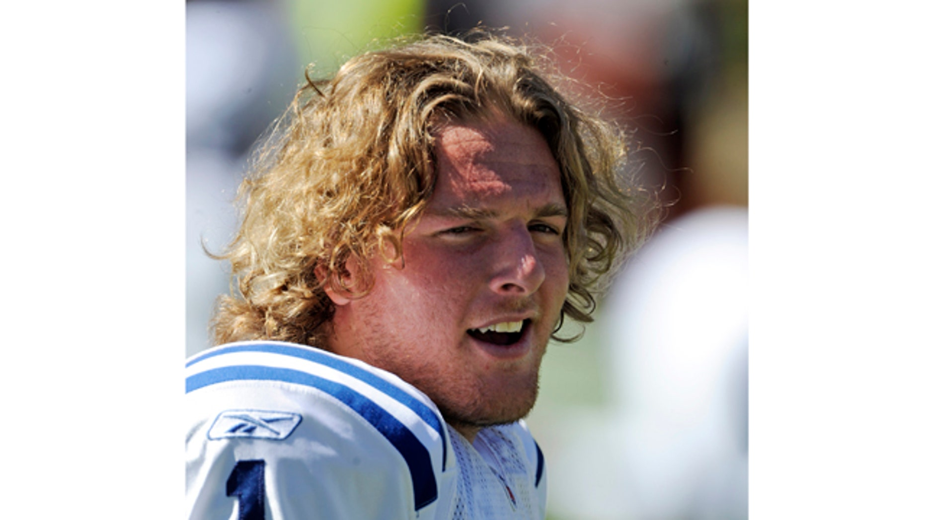 Sept. 26: Indianapolis Colts punter Pat McAfee is shown prior to an NFL football game against the Denver Broncos, in Denver.