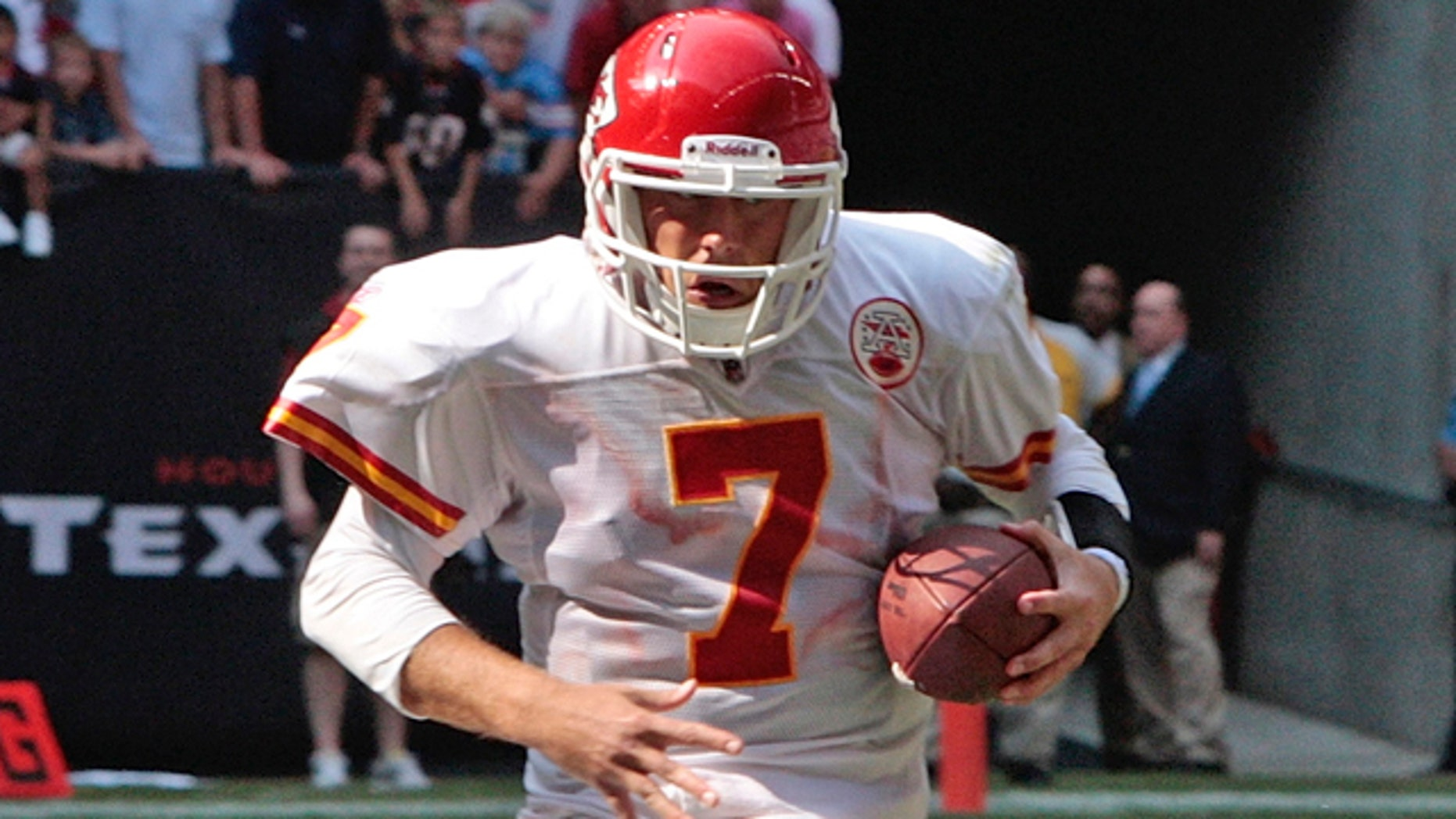 Oct. 17: Kansas City Chiefs quarterback Matt Cassel (7) is chased from the pocket on the final play of the football game at Reliant Stadium in Houston.