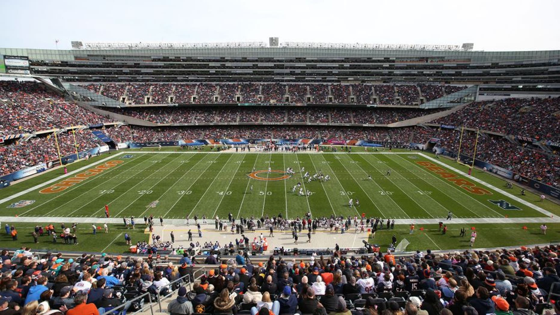 CHICAGO, IL - OCTOBER 19: A general view of Soldier Field as the Chicago Bears play the Miami Dolphins on October 19, 2014 in Chicago, Illinois. The Dolphins defeated the Bears 27-14. (Photo by John Konstantaras/Getty Images)