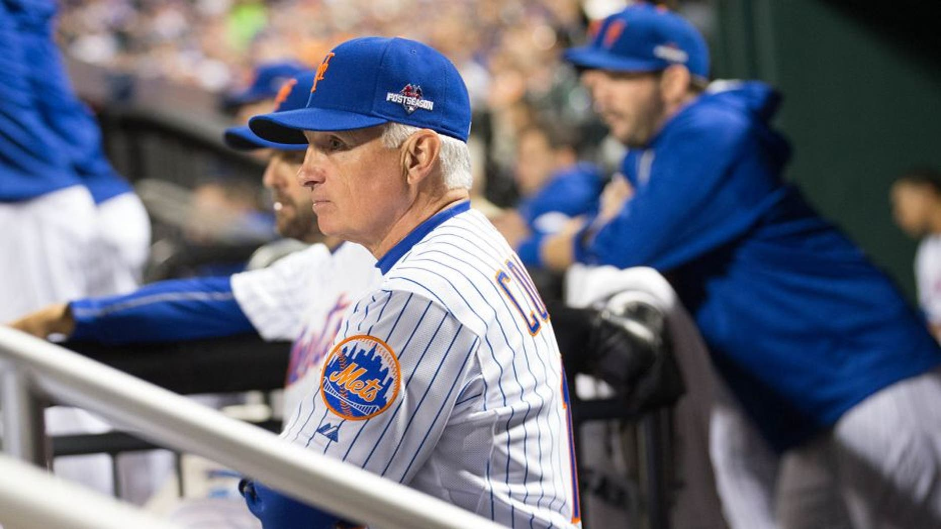 NEW YORK, NY - OCTOBER 13: Terry Collins #10 of the New York Mets looks on from the dugout during Game 4 of the NLDS against the Los Angeles Dodgers at Citi Field on Tuesday, October 13, 2015 in the Queens borough of New York City. (Photo by Rob Tringali/MLB Photos via Getty Images) *** Local Caption)