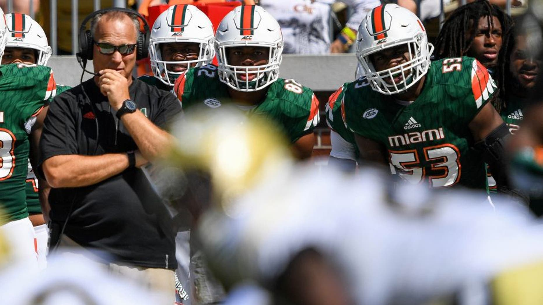 Oct 1, 2016; Atlanta, GA, USA; Miami Hurricanes head coach Mark Richt looks on during the third quarter against the Georgia Tech Yellow Jackets of the game at Bobby Dodd Stadium. Mandatory Credit: Shanna Lockwood-USA TODAY Sports
