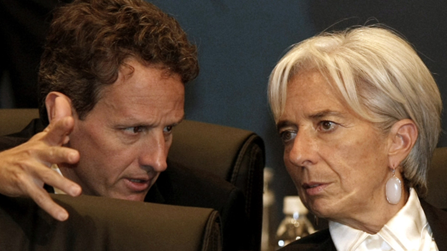 Oct. 22: U.S. Treasury Secretary Timothy Geithner, left, talks with France's Finance Minister Christine Lagarde during the G20 Finance Ministers and Central Bank Governors meeting in Gyeongju, South Korea.