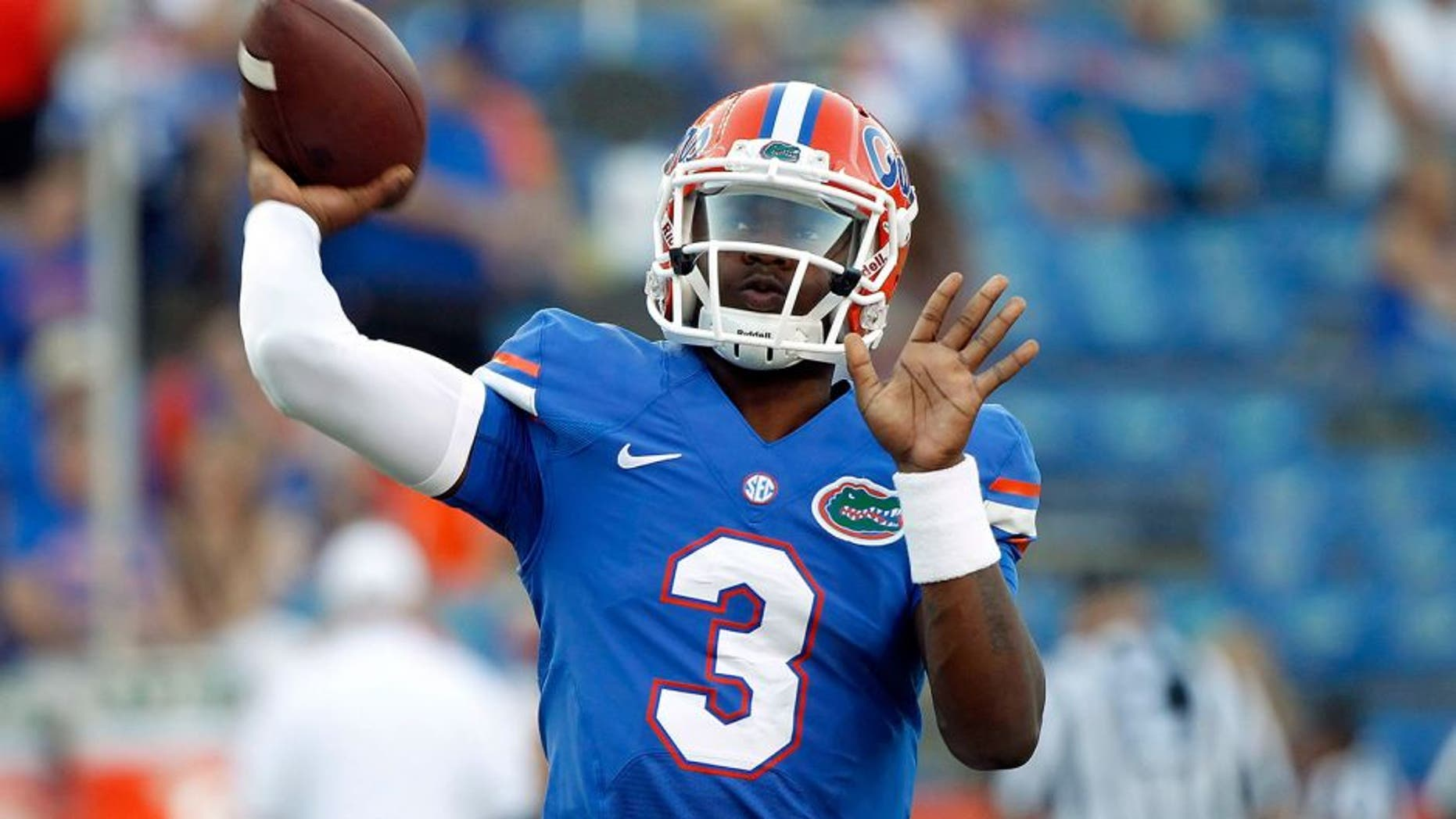 Oct 18, 2014; Gainesville, FL, USA; Florida Gators quarterback Treon Harris (3) works out prior to the game against the Missouri Tigers at Ben Hill Griffin Stadium. Mandatory Credit: Kim Klement-USA TODAY Sports