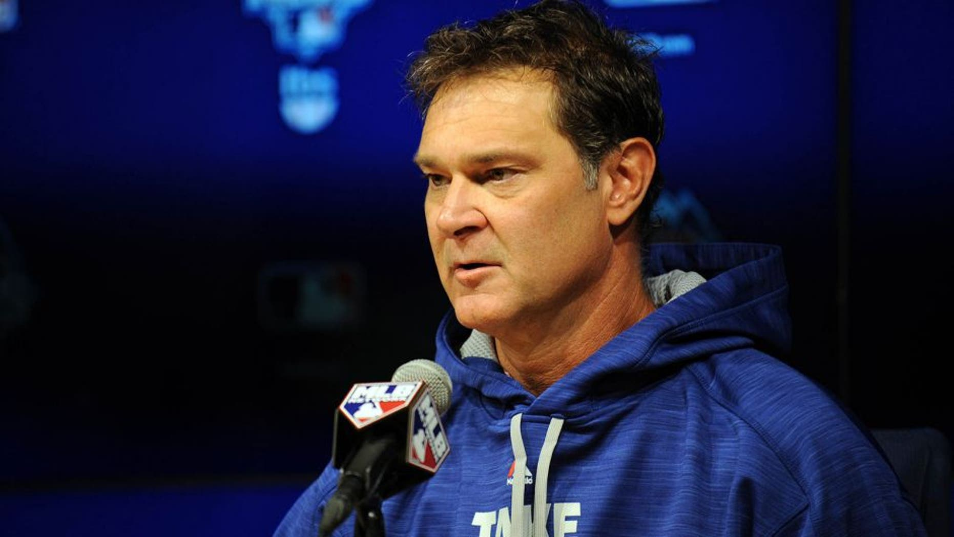 October 8, 2015; Los Angeles, CA, USA; Los Angeles Dodgers manager Don Mattingly speaks with media following workouts before game one of the NLDS at Dodger Stadium. Mandatory Credit: Gary A. Vasquez-USA TODAY Sports